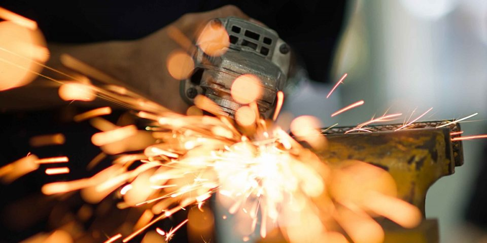Power tool in use creating sparks