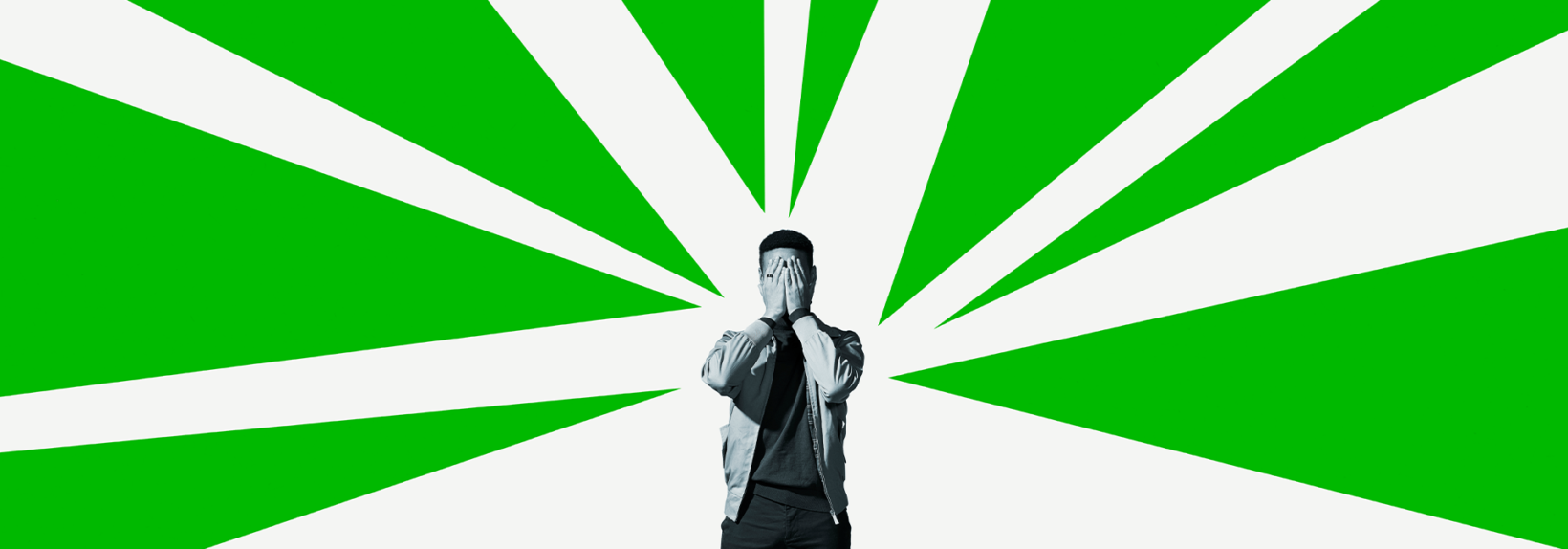 Man with hands over eyes, green and white graphical background